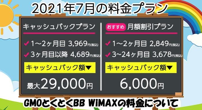GMOとくとくBB WiMAXの料金