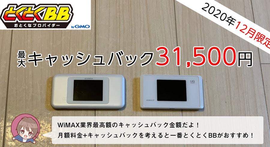 GMOとくとくBB WiMAX(高額キャッシュバックプラン)